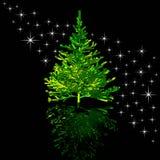 Kerstmis-boom en sterren royalty-vrije illustratie