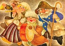 Kerstmis Caroling De vooravond van Kerstmis Het schilderen van natte waterverf op papier Naïef art Abstract art Tekeningswaterver stock illustratie