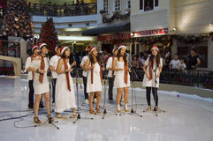 Kerstmis Carolling in Één Utama, KL, Maleisië Royalty-vrije Stock Afbeelding