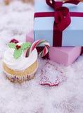 Kerstmis cupcake Stock Foto's
