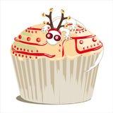 Kerstmis cupcake met gekko Stock Foto