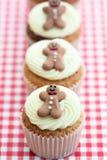 Kerstmis cupcakes Stock Afbeeldingen