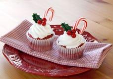 Kerstmis cupcakes Royalty-vrije Stock Afbeeldingen