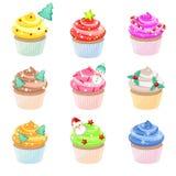 Kerstmis cupcakes Royalty-vrije Stock Foto