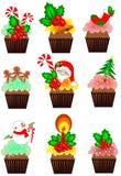 Kerstmis cupcakes inzamelingen vector illustratie