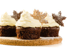 Kerstmis cupcakes met sneeuwvlok Royalty-vrije Stock Foto
