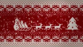 Kerstmis 2d animatie op een gebreide textuur Het van een lus voorzien animatie stock video