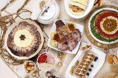 Kerstmis, dankzegging, het diner van de Nieuwjaar` s Vooravond stock afbeeldingen