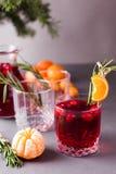 Kerstmis, Dankzeggingsdranken De herfst, de grog van de de wintercocktail, hete sangria, overwogen wijn - rozemarijn, kaneel, Ame stock afbeeldingen