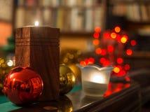 Kerstmis in de bibliotheek Stock Afbeelding