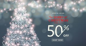 Kerstmis, de gelukkige nieuwe banner van de jaarverkoop Speciale aanbieding, kortingstype tekst vector illustratie