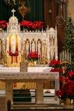 Kerstmis in de kerk stock afbeelding