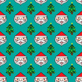 Kerstmis de Kerstman en het naadloze patroon van de pijnboomboom Stock Foto's