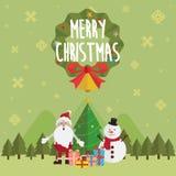 Kerstmis de Kerstman en sneeuwmanvector stock afbeelding