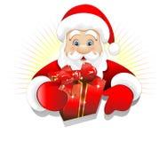 Kerstmis de Kerstman met de Huidige Achtergrond van de Gift Royalty-vrije Stock Fotografie