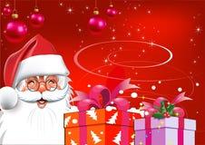 Kerstmis. De Kerstman met giften. Rode achtergrond Stock Afbeelding