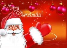 Kerstmis. De Kerstman. Rode achtergrond. Vector dra Stock Foto