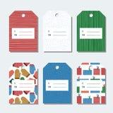 Kerstmis, de nieuwe markeringen van de jaargift De reeks kleurrijke heldere etiketten van de de wintervakantie voor Kerstmis stel Stock Afbeeldingen