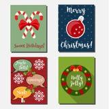 Kerstmis, de Nieuwe vector verticale banners van de jaarvakantie, groetkaarten met vakantiesymbolen Stock Fotografie