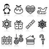 Kerstmis, de winterpictogrammen met slag - pinguïn, Kerstmispudding Royalty-vrije Stock Afbeeldingen