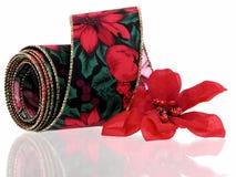 Kerstmis: Decoratief Lint stock fotografie