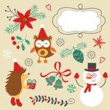 Kerstmis decoratieve elementen en pictogrammen Stock Foto's