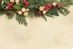 Kerstmis Decoratieve Grens Stock Foto