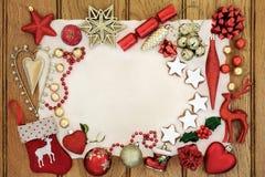 Kerstmis Decoratieve Grens Als achtergrond Stock Fotografie