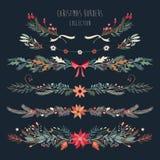 Kerstmis decoratieve grenzen met hand getrokken bloementakken Royalty-vrije Stock Afbeeldingen