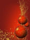 Kerstmis die bollen verfraait en stardust Stock Afbeelding