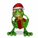 Kerstmis die Kikker geeft Stock Fotografie