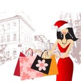 Kerstmis die, maniervrouw winkelt stock illustratie