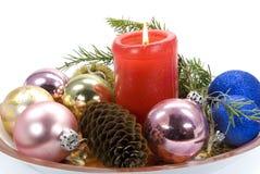 Kerstmis die op wit wordt ornament-geïsoleerdi Stock Fotografie