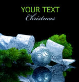 Kerstmis die op zwarte wordt geïsoleerda Stock Foto