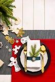 Kerstmis dienende lijst Traditionele feestelijke decoratie hoogste mening als achtergrond Mooie de platen decoratieve elementen v stock foto's