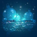 Kerstmis donkerblauwe kleuren als achtergrond met een reeks Kerstmis glanzende ballen met sneeuwvlokken, 3d illustratie stock illustratie
