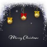 Kerstmis donkere achtergrond met magische lichten De vakantie die schittert achtergrond met dalende sneeuw gloeien Kerstmisballen Royalty-vrije Stock Foto's