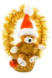 Kerstmis draagt met geïsoleerdee santahoed en gift Stock Afbeelding