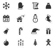 Kerstmis eenvoudig pictogrammen Stock Foto's