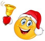 Kerstmis emoticon met klok Stock Afbeeldingen