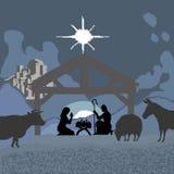 Kerstmis en de geboorte van Jesus zijn een godsdienstige die vakantie, in vierkanten en pixel wordt geschilderd Vector illustrati royalty-vrije illustratie