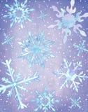 Kerstmis en de Gelukkige achtergrond van het Nieuwjaar Hand getrokken waterverf abstracte textuur met sneeuwvlokken Royalty-vrije Stock Foto