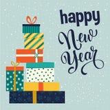 Kerstmis en de Gelukkige dozen van de Nieuwjaargift Vector illustratie stock foto
