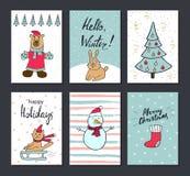 Kerstmis en de Gelukkige kaarten van de Nieuwjaargroet met kalligrafie Leuke Hand getrokken vakantiekaarten en uitnodigingen Met  Royalty-vrije Stock Foto