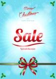 Kerstmis en de gelukkige nieuwe affiche of de banner van de jaarverkoop vector illustratie