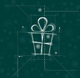 Kerstmis en de gelukkige nieuwe kring van de jaargift Royalty-vrije Stock Afbeeldingen