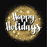 Kerstmis en de Gelukkige van de de vakantiehand van de Nieuwjaargroet van letters voorziende kaart Royalty-vrije Stock Fotografie