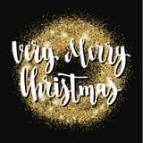 Kerstmis en de Gelukkige van de de vakantiehand van de Nieuwjaargroet van letters voorziende kaart Stock Foto's