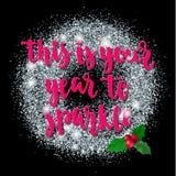 Kerstmis en de Gelukkige van de de vakantiehand van de Nieuwjaargroet van letters voorziende kaart Stock Afbeeldingen