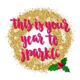 Kerstmis en de Gelukkige van de de vakantiehand van de Nieuwjaargroet van letters voorziende kaart Stock Fotografie
